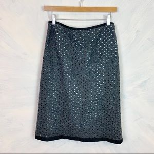Beth Bowley Wool Blend Laser-cut Skirt